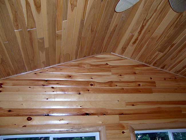 Black Ash Ceiling with White Pine Log Paneling