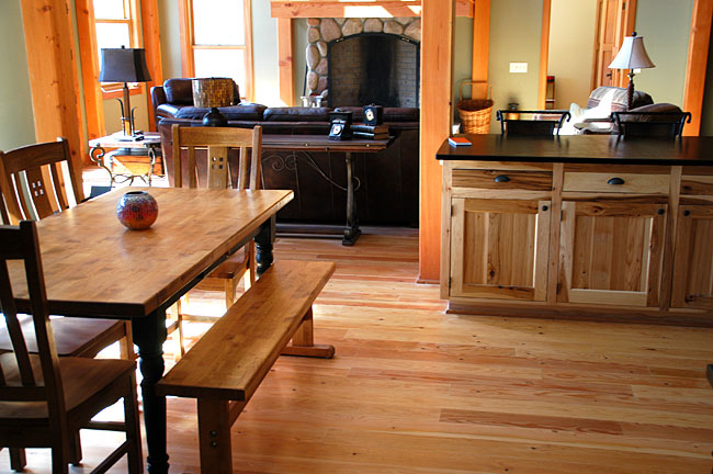 Douglas Fir flooring in kitchien and living room