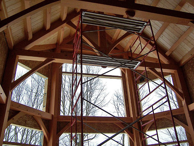 Premium pine - prefinished and installed on the ceiling of this beautiful timberframe home on a hill overlooking Rochester, MN